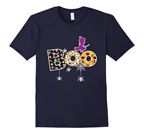 Mens Funny Halloween Boo Witch Spider T Shirt Large Navy