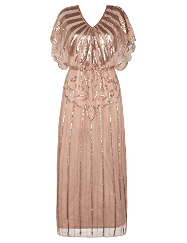 PrettyGuide Women's 1920s Gatsby Dress Sequin Long Bridesmaid Dress Rose Gold S/M
