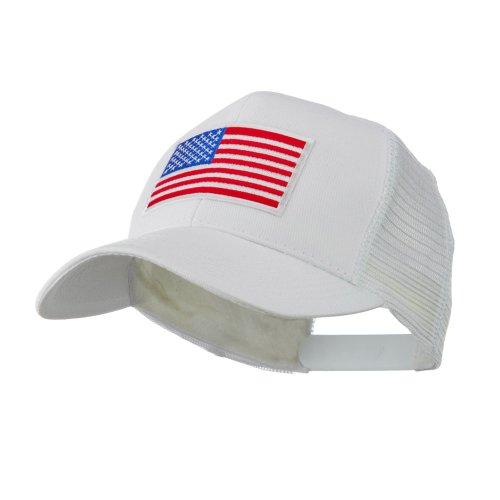 - 6 Panel Mesh American Flag White Patch Cap - White OSFM
