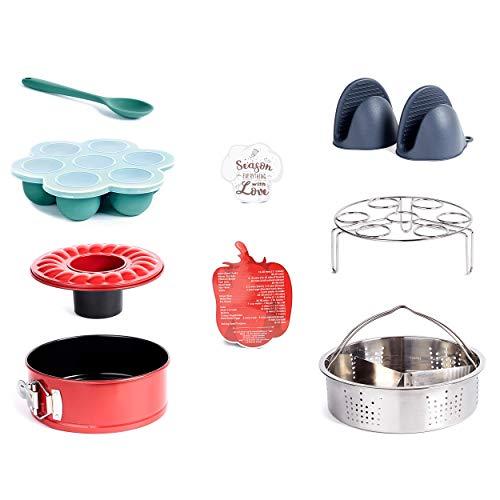 Kenley Instant Pot Accessories Set - Steamer Basket 6 8 qt, Springform Cake Pan, Magnetic Cheat Sheet, Egg Rack, Egg Bites Mold, Silicone Mitts - Instapot Pressure Cooker Accessory Kit 5 6 8 quart
