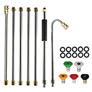 #LightningDeal AgiiMan Gutter Cleaning Tool Pressure Washer - Extension Wands, Roof Cleaner Lance Nozzle - 4000 psi 5 Tips, Window Washing Accessories, Power Washer
