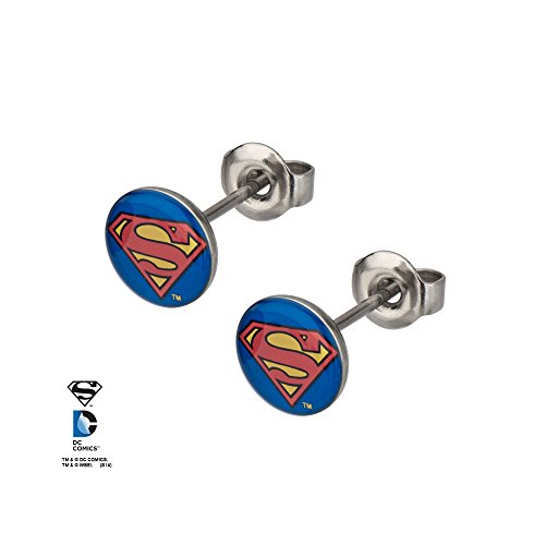 Stainless Steel Post with 8mm Superman Logo Stud Earrings]()