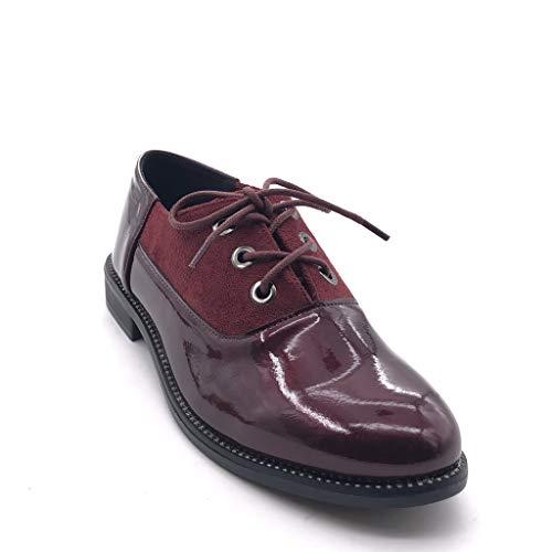 Bimaterial 5 on Slip Tachonado Tacón Derby Burdeos Mujer Zapatillas Moda Perforado Cm Ancho Angkorly Zapato Patentes 2 4FBIq