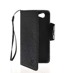 ANDHOWELL Tapa Funda Carcasa Cuero Case para Sony Xperia Z1 Compact (Mini) Negro