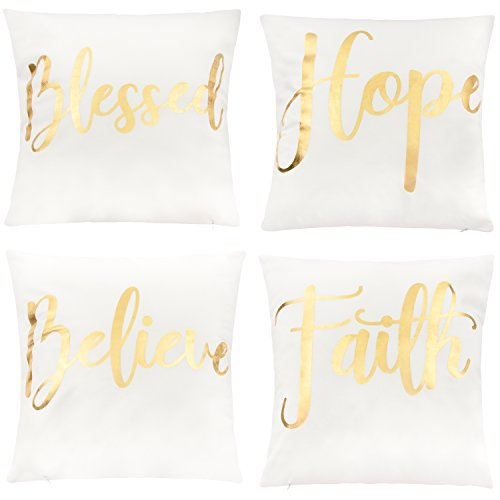 Juvale Throw Pillow Covers - 4-Pack Decorative Couch Throw Pillow Cases for Girls and Woman, White Covers with Gold Foil Lettering Design Cushion Covers for Modern Home Décor, 17 x 17 Inches (White Pillow Gold)