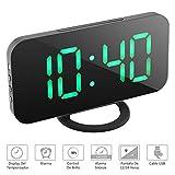 NEXGADGET Reloj Despertador Electrónico Digital Espejo LED Dual USB Puertos Snooze Memoria Automática Reloj con Función de Alarma (Verde)