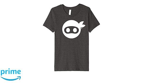 Kids White Ninja Icon on Dark Heather Premium T-Shirt