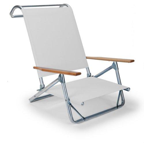 Telescope Casual Original Mini-Sun Chaise Folding Beach Arm Chair, White-(74106D01) (In York New Patio Furniture Made)