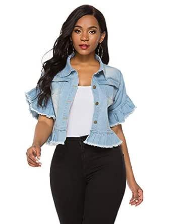 Fanvans Womens Denim Jacket Ruffle Sleeve Short Cropped Jean Jackets Blue S