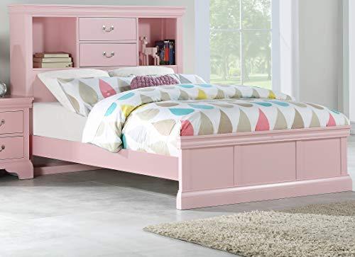 Youth Dresser Birch - Esofastore Classic Modern Youth Bedroom Furniture Full Size Bed Light Pink Color Birch Veneer Wood Unique Storage Drawers Shelf HB FB 1pc Bedframe
