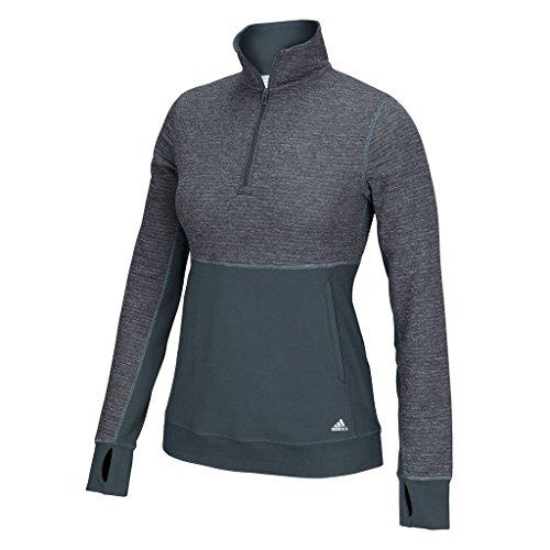 (adidas Women's Climalite Twist 1/2 Zip Pullover (X-Large, Onyx/Matte Silver))