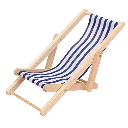 Topseller Mini Foldable Wooden Deckchair Dolls House Lounge Beach Chair 1:12 (Blue)