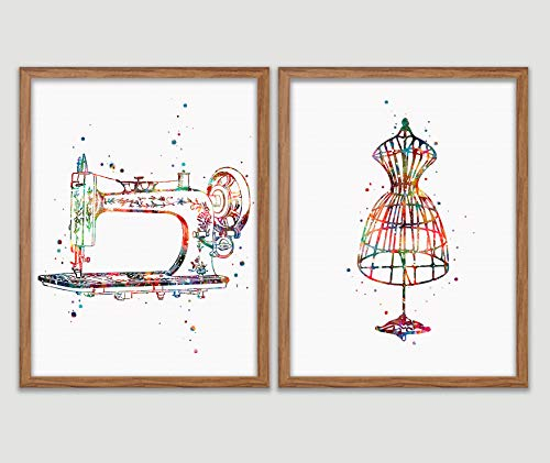 Sewing Watercolor Poster Sewing Room Art Print Craft Room Decor Sewing Machine Dressform Mannequin Seamstress Wall Decor Sewing Room Artworks Tailors Wall Art Home Decor Wall Hanging Gift For Sewer from Poster Soul