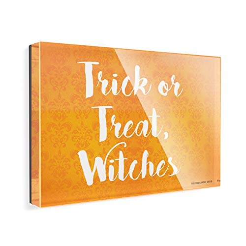 Acrylic Fridge Magnet Trick or Treat, Witches Halloween Orange Wallpaper NEONBLOND -