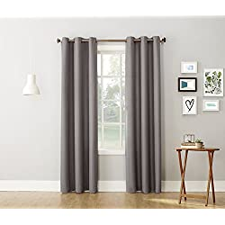 "No. 918 Montego Casual Textured Grommet Curtain Panel, Nickel Gray, 48"" x 84"""