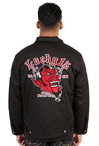 Lucky 13 Red Devil Hot Rod Car Quilt Lined Chino Jacket, Grease Gas Glory, (2X)