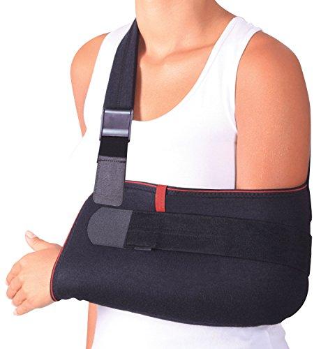 ORTONYX Arm Support Sling Shoulder Immobilizer Brace - Breathable and Lightweight - Fully Adjustable - S-M Black