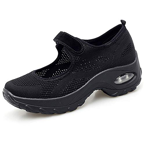 HopCon Women's Comfortable Walking Sneakers Mary Jane Wedge Platform Shoes Mesh Casual Breathable Working Nursing Shoes with Arch Support, C-black, 8
