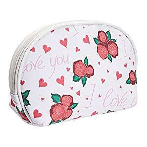Amazon Brand – Solimo Cosmetic, Makeup & Toiletries Pouch (Hearts & Roses; White, Red)