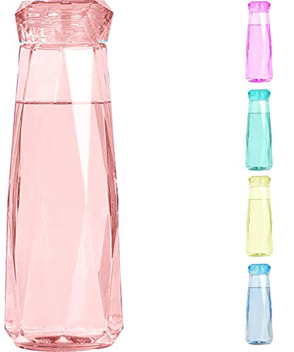 Crescendo & Co Chakra Colored Glass Water Bottle – Crystal Shaped (Pink Coral)