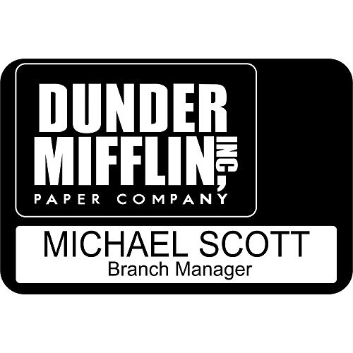 (Large Dunder Mifflin Name Tags Halloween Name Tags, Custom The Office Name Tags (Design 3))