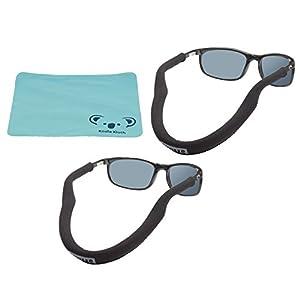 Chums Floating Neoprene Eyewear Retainer Sunglass Strap | Eyeglass & Glasses Float | Water Sports Holder Keeper Lanyard | 2pk Bundle + Cloth, Black