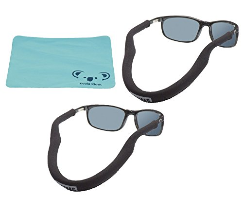 Chums Floating Neoprene Eyewear Retainer Sunglass Strap | Eyeglass & Glasses Float | Water Sports Holder Keeper Lanyard | 2pk Bundle + Cloth, - Sunglass Retainer Floating