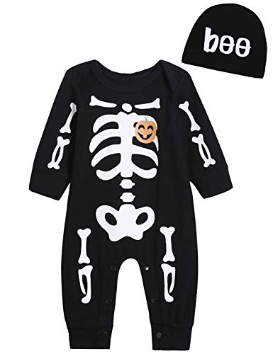 Singcoco Halloween Baby Boys Girls Skull Costume Romper with Hat (Black, 0-3 Months)