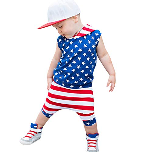 2Piece Kids Clothing Sets Boys Short Sleeve/Sleeveless Hoodie Shirt+Striped Shorts for Toddler Baby Patriotic Outfits 6M-4Y Red -