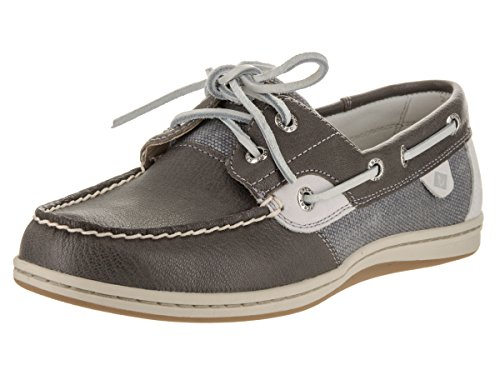 Sperry Top-Sider Women's Koifish Waxy Canvas Boat Shoe,Medium Grey Leather/Canva