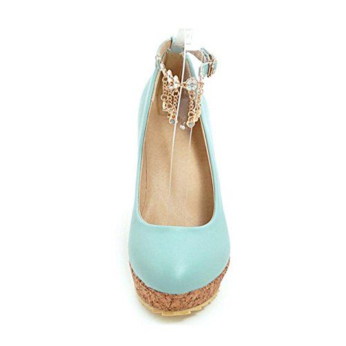 TAOFFEN Zapatos mujer Wedges Fashion de Blue Court qEEgC1w