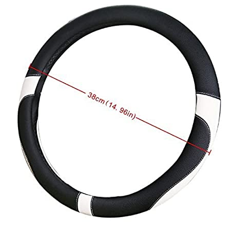 White//Gray//Beige 38cm ,No-slip and Red//Black World 9.99 Mall Microfiber Leather Car Steering Wheel Cover with Universal Fit 15in black with grey