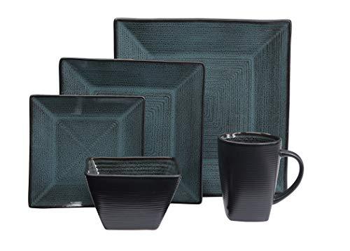 Oneida Tremiti 20-Piece Reactive Glaze Stoneware Dinnerware Set (Teal)