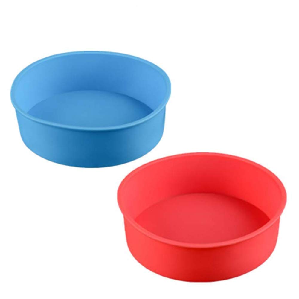 zswell Round Silicone Cake Pan Baking Mold 6 Inches - Set of 2 - BPA-Free - Kitchen Baking Tool Red and Blue (Red and Blue)