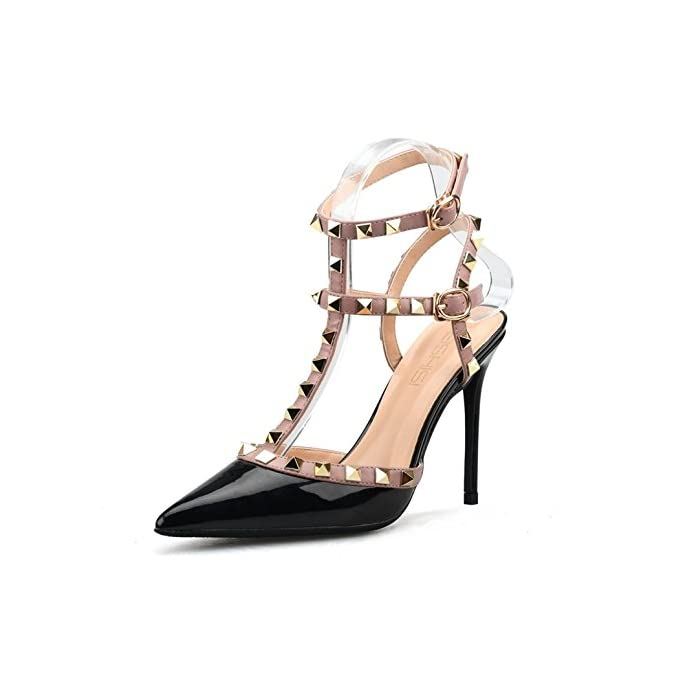 Tacchi Pompe Shoes Alto Festa Con Studs Donna Hn Sandali Caviglia Stiletto Scarpe Tribunale Vestito Rivetti Cinghia