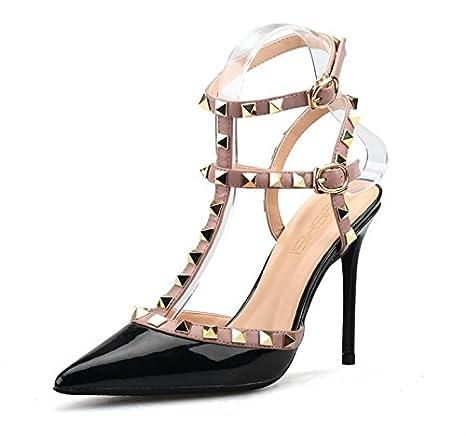 L-XIE Mujer Sandalias Tobillo Correa con Remaches Studs Estilete Alto Talones Corte Zapatos Zapatillas Vestir Fiesta, black, EUR 35/UK 3: Amazon.es: ...