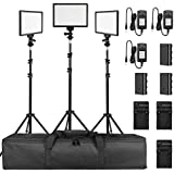 SUPON 3 Pack LED Video Light Stand Lighting Kit with Battery/Charger for Studio Photography YouTube Video Shooting,Bi-Color 3300K-5600K Ultra Slim Countinuous Output Lighting Panel