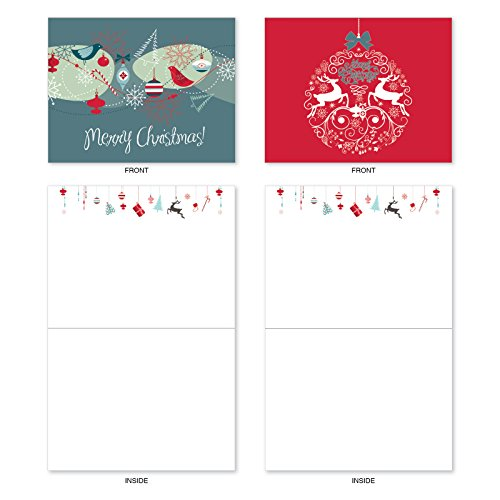 M6663XSB Red And Blue Retro Christmas : 10 Assorted Blank Christmas Note Cards Featuring Charming Christmas and Holiday Designs in Red and Blue, w/White Envelopes. Photo #5