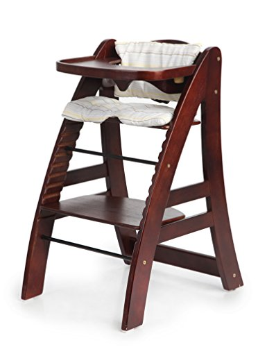 Sepnine Height Adjustable Wooden Highchair Baby High Chair with Padded Cushion 6511 (Dark Cherry)