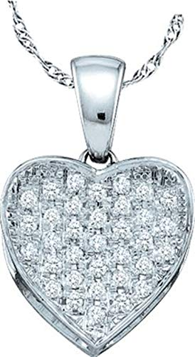 Aienid 10Kt White Gold 0.10ct Diamond Heart Pendant Necklace For Ladies