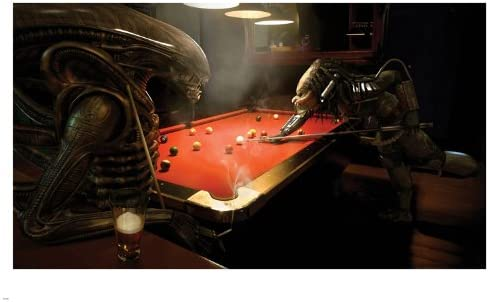 Alien vs Predator Playing Pool Game Póster 24 x 36 Funny Humor Caliente por Instituto Nacional de Ciencia Ficción: Amazon.es: Hogar