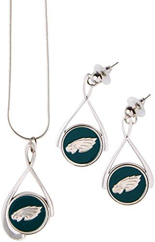 (Siskiyou NFL Philadelphia Eagles Tear Drop Necklace and Earrings Set)