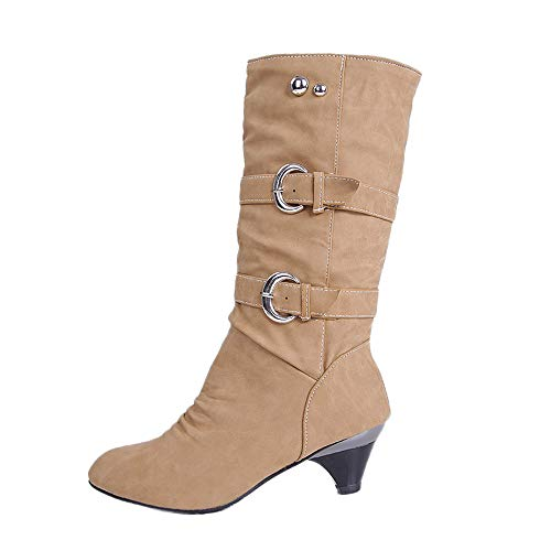 Seaintheson Winter Comfortable Boots Round Head Anti Slip Belt Buckle Cup Middle Tube Female Solid Booties Khaki (Horsebit Buckle Belt)
