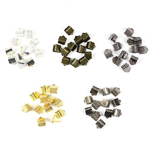 (Monrocco 500Pcs 6mm Iron Ribbon Bracelet Bookmark Pinch Crimp Clamp End Findings Cord Ends Fasteners Clasp Leather Crimp Ends for Jewelry Making)