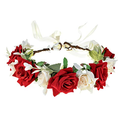 Love Sweety Rose Flower Headband Floral Crown Garland Halo (Rose Red White)