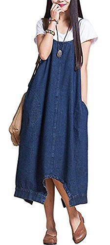 Sacing Women Plus Size Baggy Denim Overalls Casual Loose Dress Wide Leg Pants Sleeveless Rompers Haren Jeans With Pockets for Four Seasons(S)