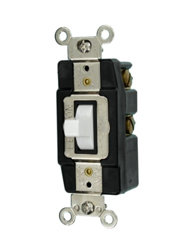 Leviton 1257-W 20-Amp 120/277-Volt Toggle Single-Pole AC Quiet Switch, White ()