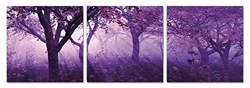 SLS Vision. Magenta Morning. 48 x 16 inches. Ready to Hang. Contemporary Art Modern Wall Decor, 3 Panel Commercial Grade Machine Framed Giclee Canvas Print. Home Decoration Painting. A1262S