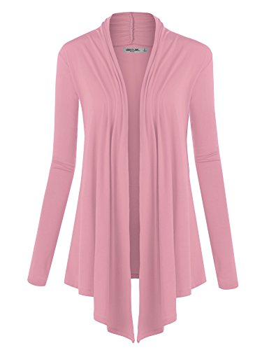 Bubble Draped - WSK850 Womens Draped Open- Front Cardigan M Pink