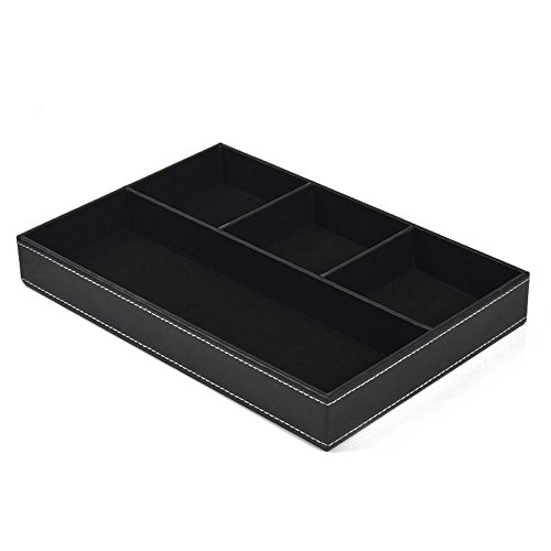 Mens Valet Tray (Iremico 4 Compartments Leatherette Valet Tray Desk or Dresser Top Organizer)